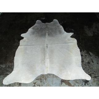 """Rare White Cowhide Rug - 7.08 feet x 7.58 feet/85"""" x 91"""""""