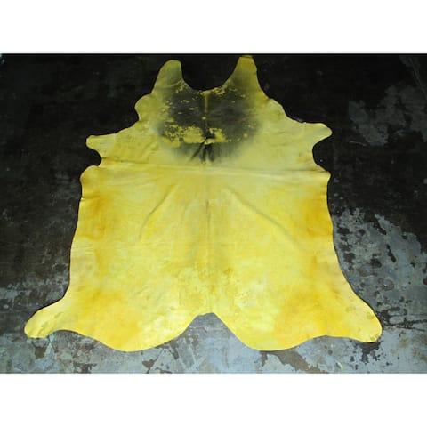 Yellow Cowhide Rug - 6.75' x 8.33'