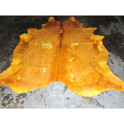 Rare Yellow Cowhide Rug - 7.75' x 8.33'