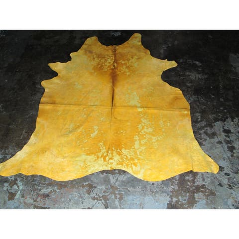 Natural Yellow Cowhide Rug - 6.33' x 7'