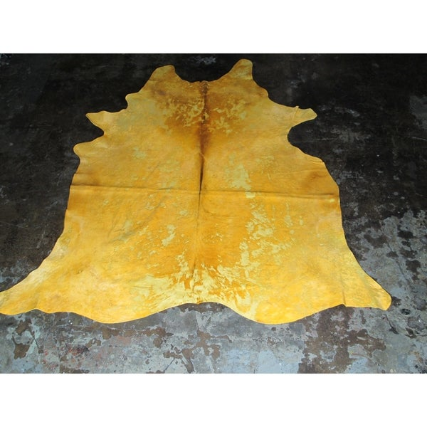 Natural Yellow Cowhide Rug - 6.33' x 7'. Opens flyout.