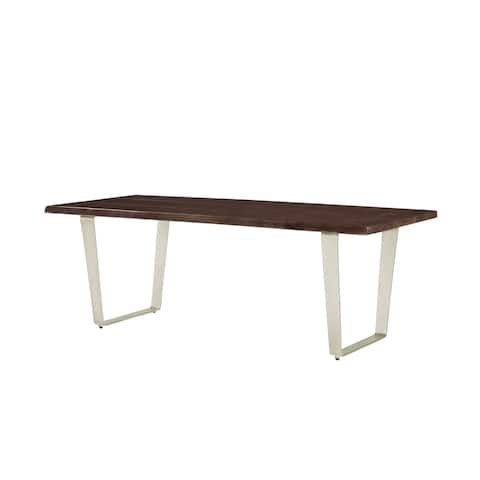 Emerald Home Sommerville Solid Mahogany Top and Metal Base 84-inch Dining Table