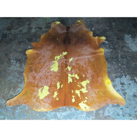 Real Yellow Cowhide Rug - 6.25' x 7'