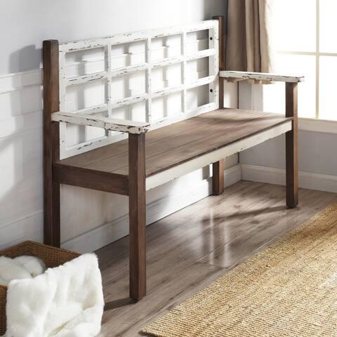 StyleCraft Distressed White Wooden Bench