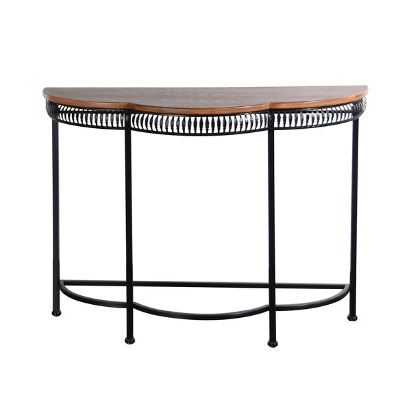 Wood and Black Iron Console Table