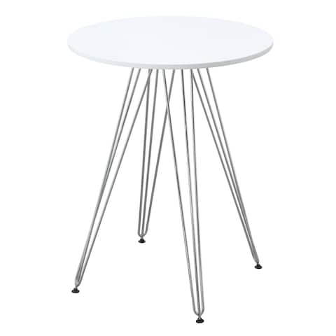 Emerald Home Audrey White and Chrome Round Gathering Height Table