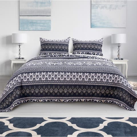 Barefoot Bungalow Native Indigo Reversible Quilt Set