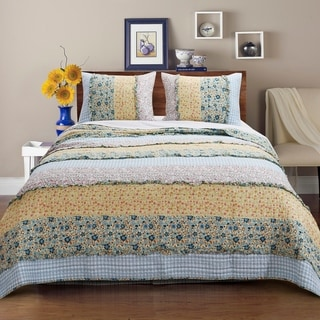 Link to Barefoot Bungalow Ditsy Ruffle Reversible Quilt Set Similar Items in Quilts & Coverlets