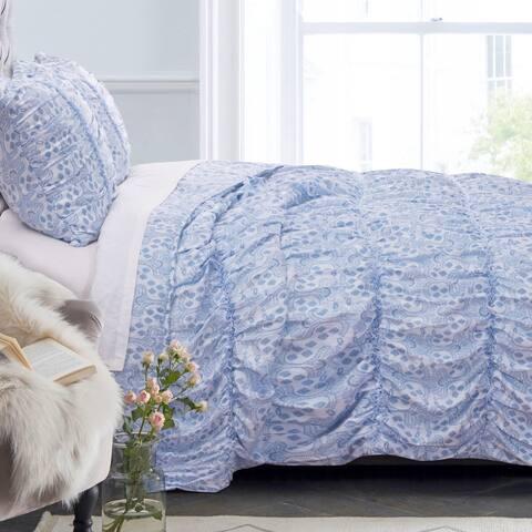 Greenland Home Fashions Helena Blue Ruffled Quilt Set