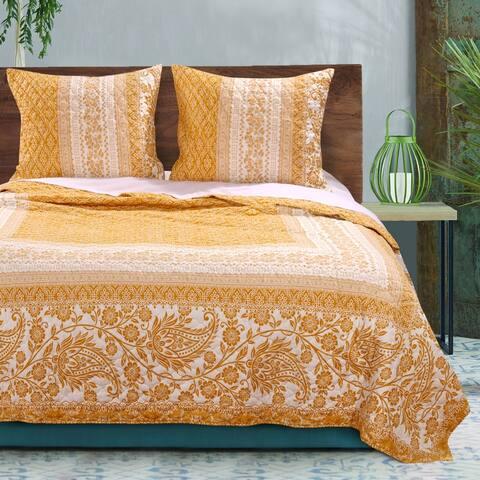 Barefoot Bungalow Mykonos Gold Reversible Quilt Set
