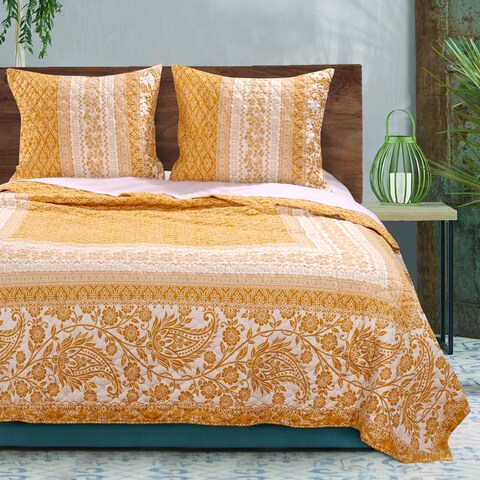 Barefoot Bungalow Mykonos Gold Reversible Quilt Set