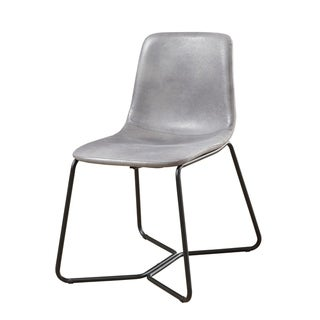 Emerald Home Emmett Smokey Gray and Black Dining Chair with Metal Legs And Upholstered Seat And Back, Set of Two