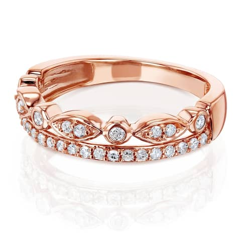 Annello by Kobelli 10k Rose Gold 1/4ct.tw Mixed Set Double Row Diamond Anniverary Band