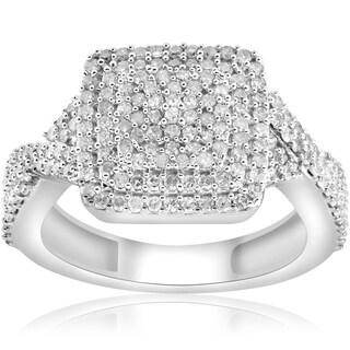 Bliss 10k White Gold 5/8 Ct TDW Cushion Halo Interwoven Diamond Engagement Ring