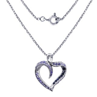 Sterling Silver 'Heart' Pendant 3.0 Cts Sapphire & Tanzanite By Orchid Jewelry