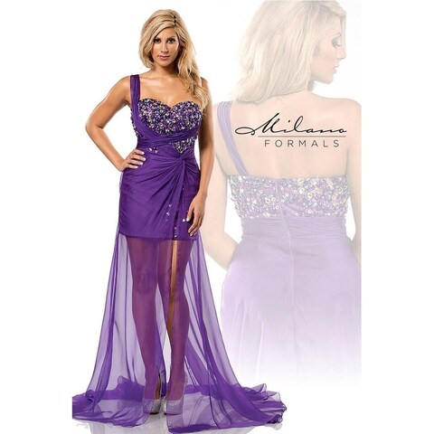 Exquisite Single strapped evening gown from Milano Formals #E1605