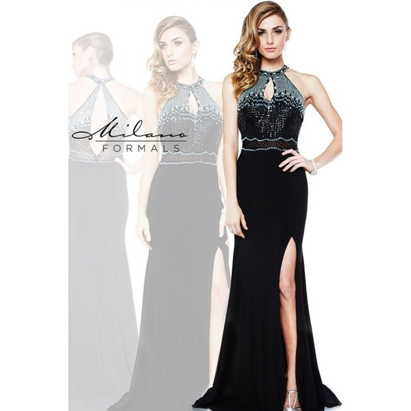 0b2a913dc7 Shop Flared Evening Dress from Milano Formals  E1854 - Free Shipping Today  - Overstock - 25752109