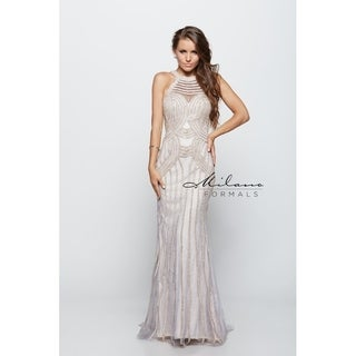 Exquisite halter neckline formal gown from Milano formals #E1921