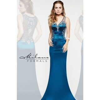 Classic long teal formal dress from Milano formals #E1933