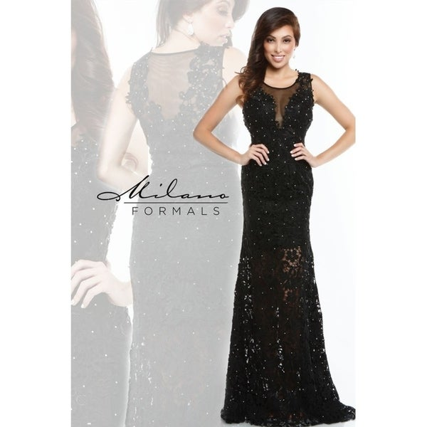 0da80b39b6 Shop Elegant crystal laced formal dress from Milano formals  E1944 - Free  Shipping Today - Overstock - 25752161