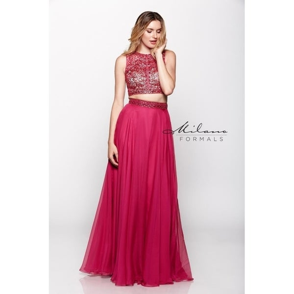 3a1e9a6a34 Shop Elegant Pink Crop top evening dress from Milano formals  E1965 - Free  Shipping Today - Overstock - 25752169