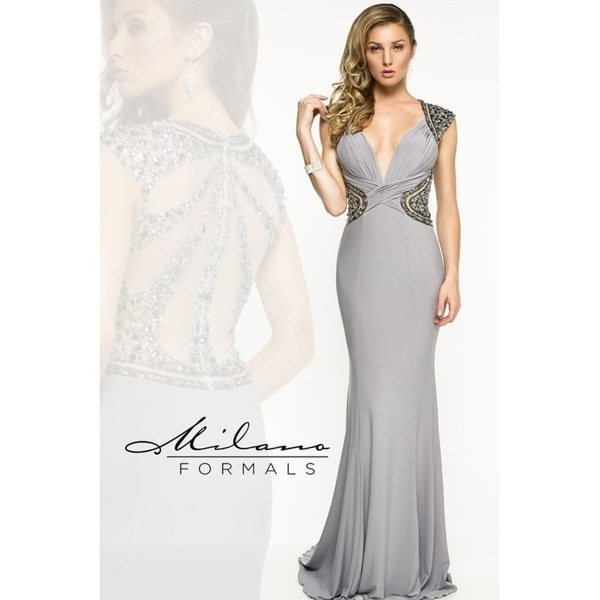 805cec0ef0 Shop Elegant scoop neckline prom dress from Milano formals  E1910 - Free  Shipping Today - Overstock - 25752173
