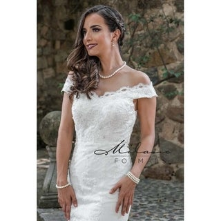Off-the-shoulder wedding gown from Milano formals #AA9318