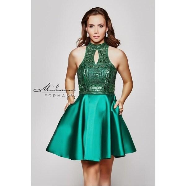 e84d92426ba75 Fancy Emerald Skater Evening Dress from Milano Formals #E2036
