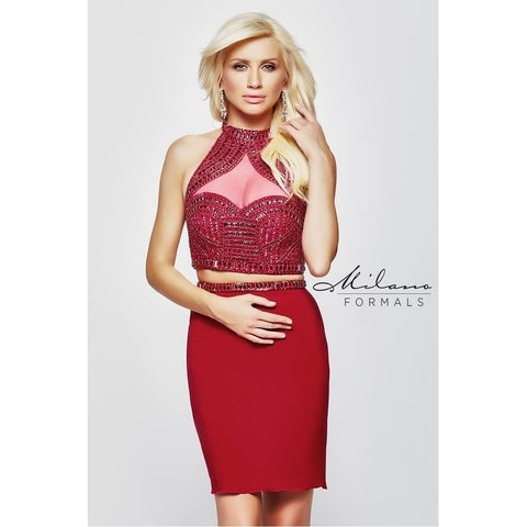 Red Two Piece Evening Gown from Milano Formals #E2034