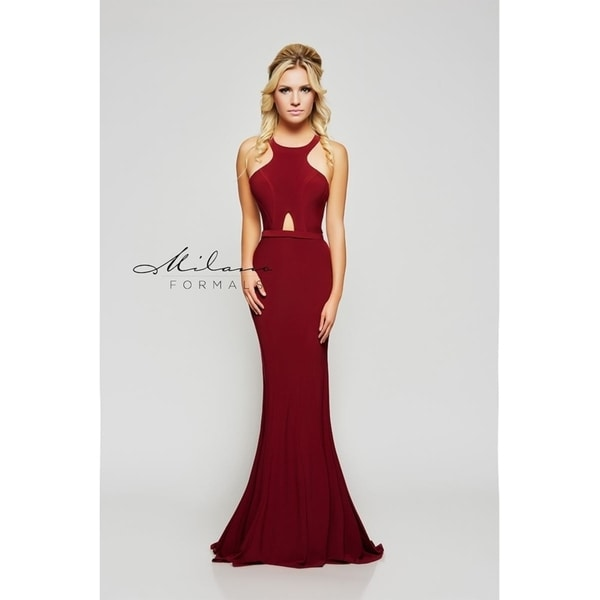 79dcd9bfb7 Shop Elegant wine red ball gown evening dress from Milano formals  E2101 - Free  Shipping Today - Overstock - 25752267