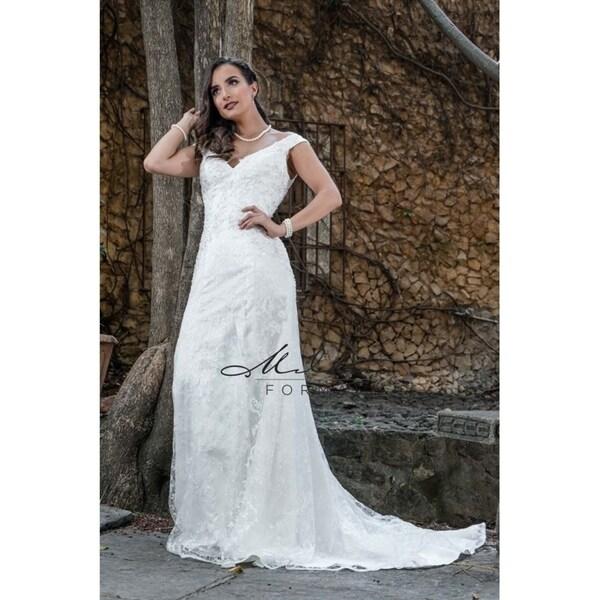 Shop Magnificent V-shaped Neckline Wedding Dress From