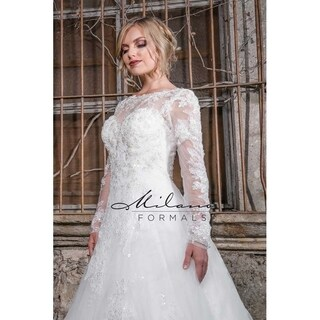 Breathtaking floral laced wedding dress from Milano formals #AA9333