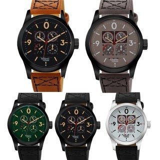 M Milano Expressions Vegan Leather Strap Men Watch - 4665 - N/A
