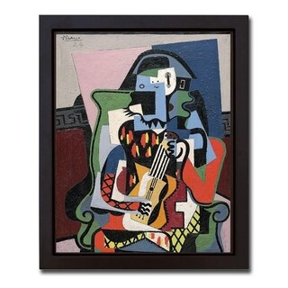 Harlequin Musician, 1924 by Pablo Picasso Framed Canvas Giclee Art (18 in x 14 in Framed Canvas Size, Ready to Hang)