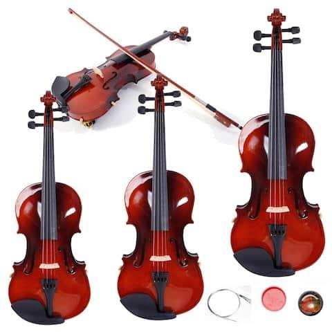 5 Sizes Case& Bow&Rosin&Strings&Tuner&Shoulder Rest Acoustic Wood Violin