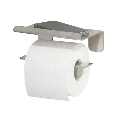Toilet Roll Holder With Shelf Tiger Colar Brushed Stainless Steel