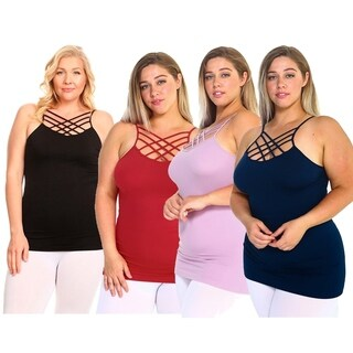 Womens Seamless Triple Criss-Cross Front Cami (Plus Size)