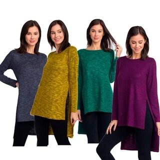 Women's Space-Dye Knit Side Slit Tunic Top