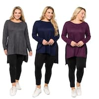 Women's Space-Dye Knit Side Slit Tunic Top (Plus Size)