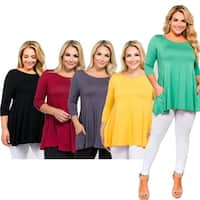 Women's 3/4 Sleeve Tunic with Hidden Pockets - PLUS SIZE