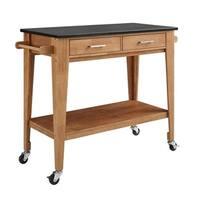 Rakel Matte Black/Brown Granite/Wood Kitchen Cart