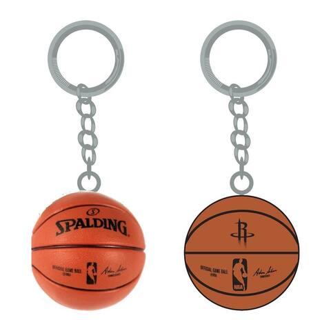 NBA Houston Rockets Sports Team Logo Mini Basketball Keychains - Black/brown/Silver