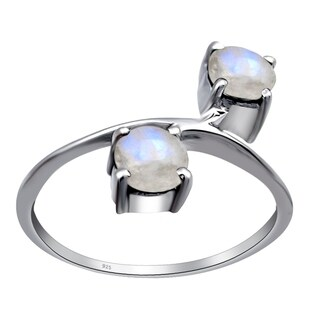 Sterling Silver 1.20 Cts Rainbow Moonstone Round Cab Engagement Ring