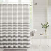Madison Park Donna Stripe Blended Yarn Dyed Woven Shower Curtain 3-Color Option