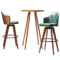 Banes Bamboo Mid-Century Leather Swivel 3-Piece Cocktail Pub Table Set by Corvus