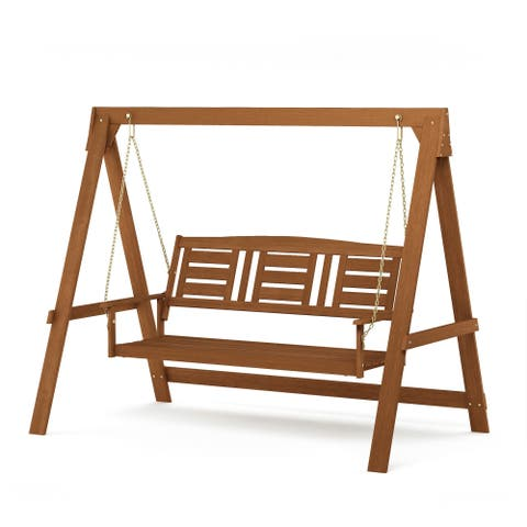 Furinno Tioman Hardwood 3 Seater Swing with Stand