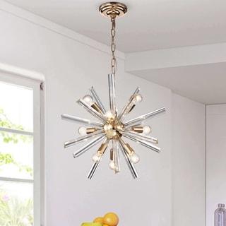 Lorena Champaign Gold 9-Light Clear Glass Bar Sputnik Chandelier