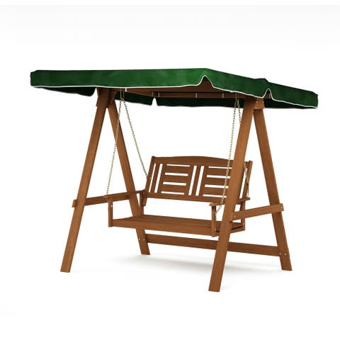 Furinno Tioman Hardwood European Swing with Canopy