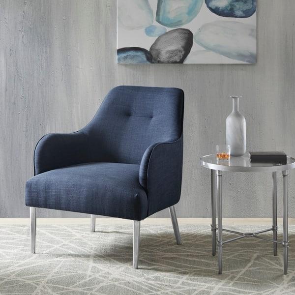 Phenomenal Shop Madison Park Hermo Blue Accent Chair 28 5W X 31 5 Machost Co Dining Chair Design Ideas Machostcouk
