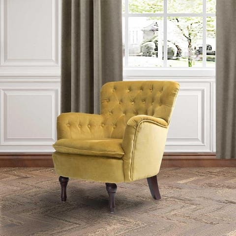 """Isabella Small Velvet Tufted Upholstered Armchair - 28.1""""w x 28.5""""d x31.1""""h - 28.1""""w x 28.5""""d x31.1""""h"""